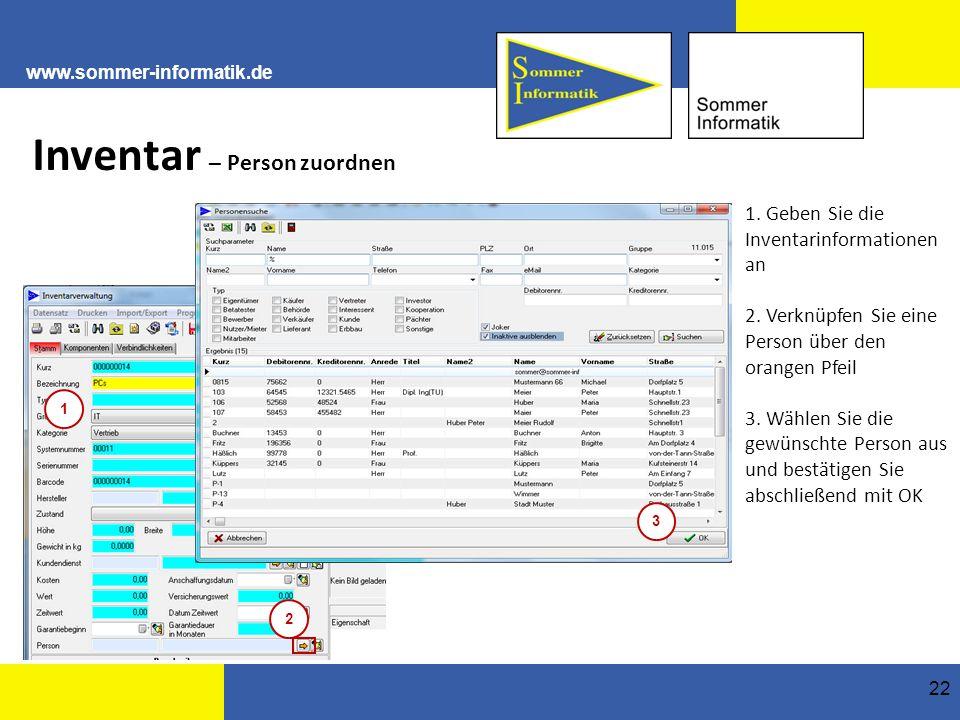 www.sommer-informatik.de 22 Inventar – Person zuordnen 1.