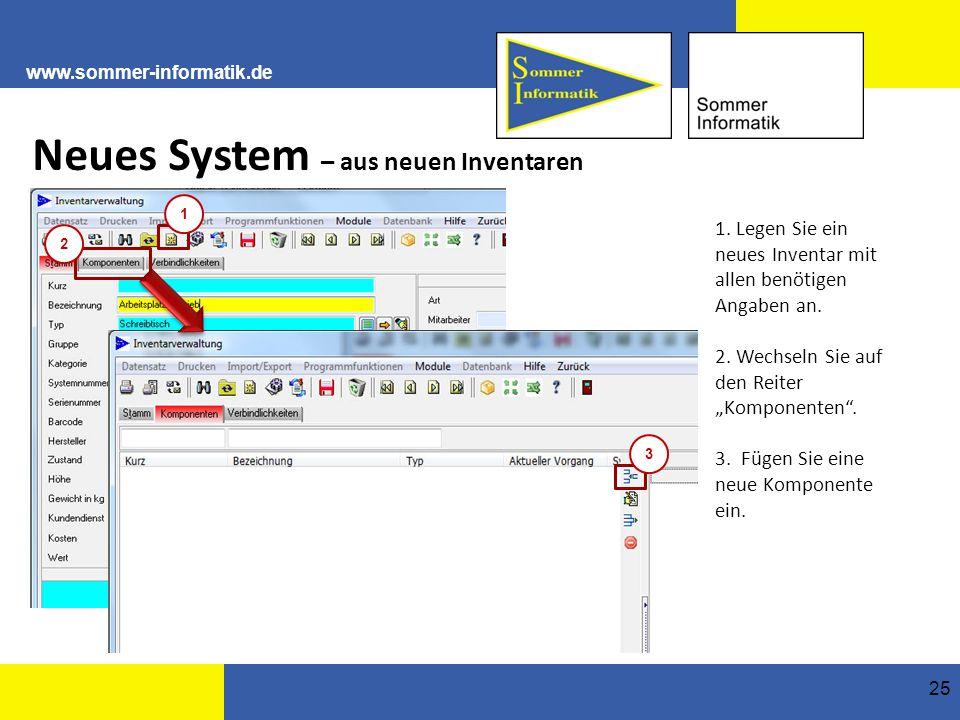 www.sommer-informatik.de 25 Neues System – aus neuen Inventaren 1.