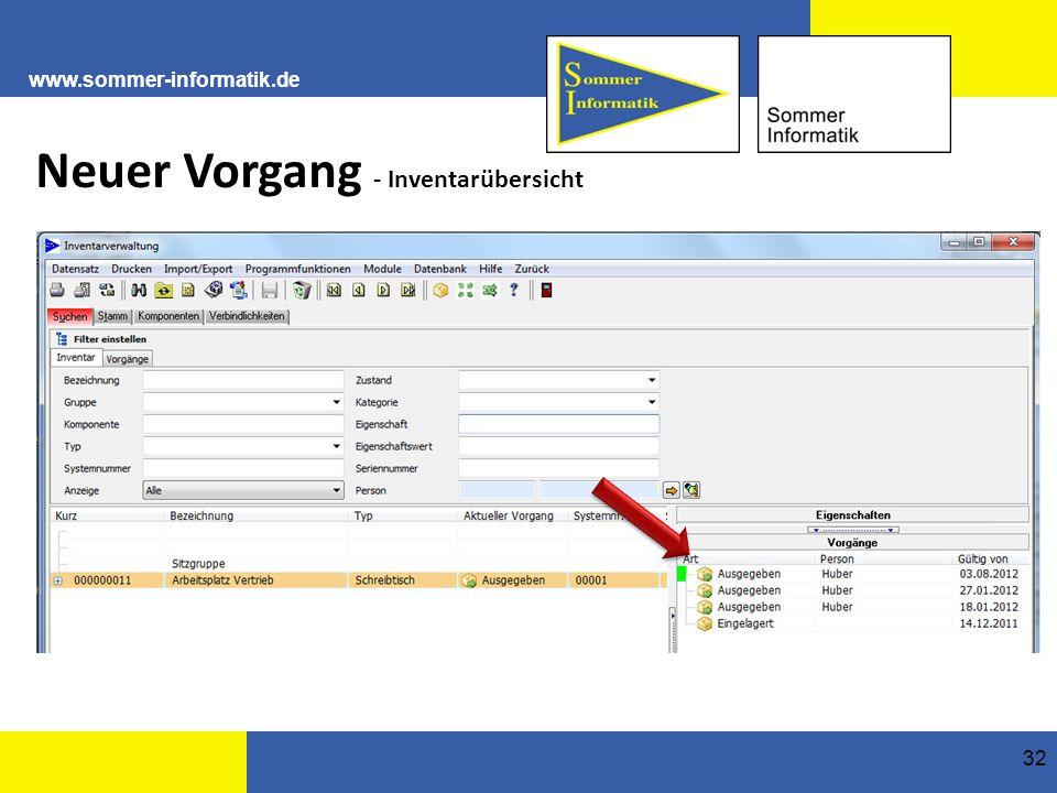 www.sommer-informatik.de 32 Neuer Vorgang - Inventarübersicht