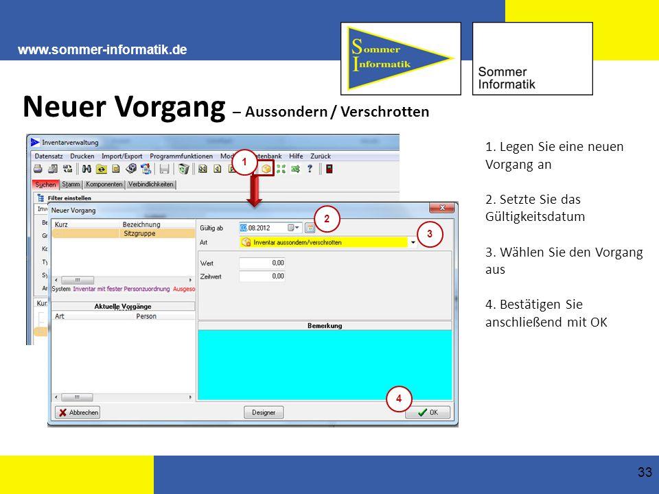 www.sommer-informatik.de 33 Neuer Vorgang – Aussondern / Verschrotten 1.