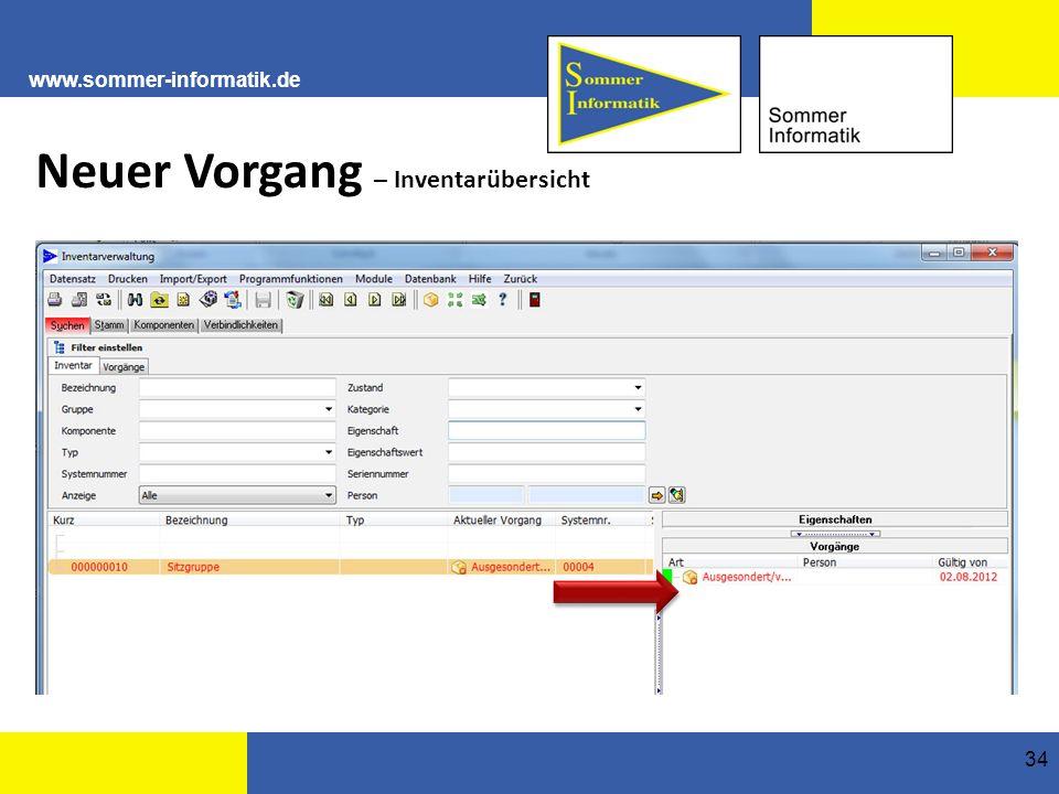 www.sommer-informatik.de 34 Neuer Vorgang – Inventarübersicht