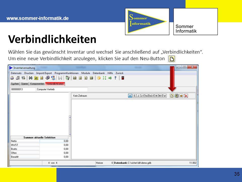 """www.sommer-informatik.de 35 Verbindlichkeiten Wählen Sie das gewünscht Inventar und wechsel Sie anschließend auf """"Verbindlichkeiten ."""