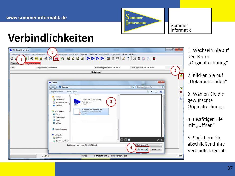 """www.sommer-informatik.de 37 Verbindlichkeiten 1.Wechseln Sie auf den Reiter """"Originalrechnung 2."""