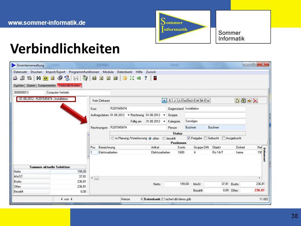 www.sommer-informatik.de 38 Verbindlichkeiten