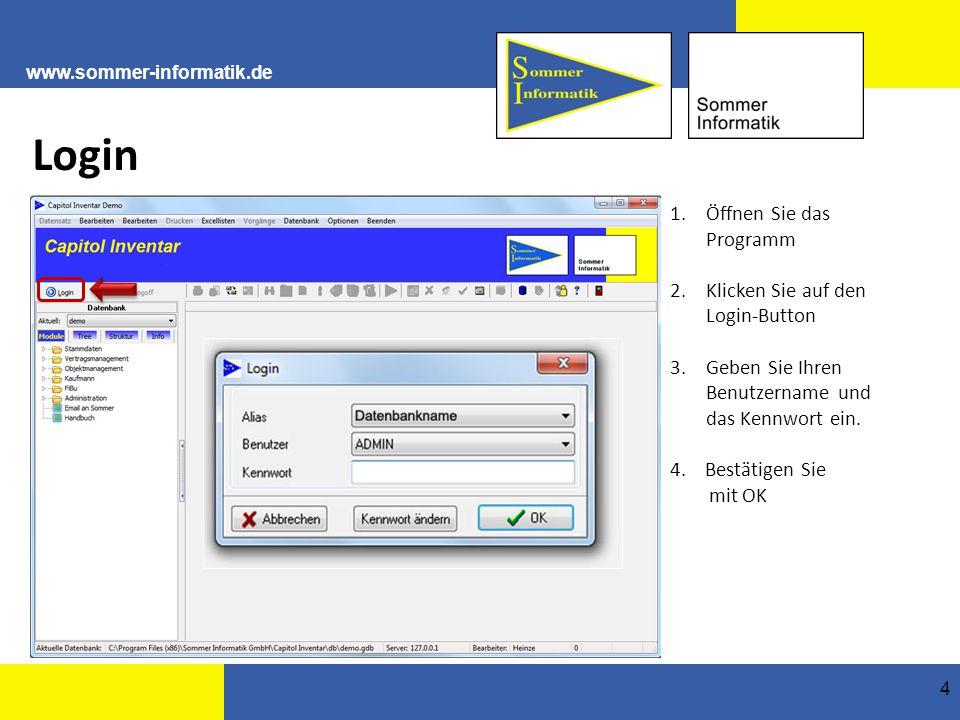 www.sommer-informatik.de 4 Login 1.Öffnen Sie das Programm 2.Klicken Sie auf den Login-Button 3.