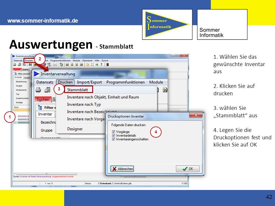 www.sommer-informatik.de 42 Auswertungen - Stammblatt 1.