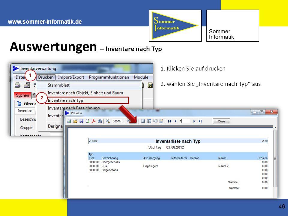 www.sommer-informatik.de 46 Auswertungen – Inventare nach Typ 1.