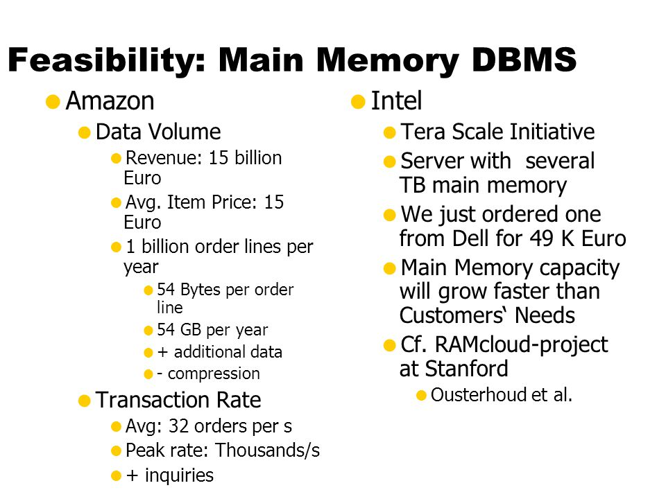 Feasibility: Main Memory DBMS  Amazon  Data Volume  Revenue: 15 billion Euro  Avg.