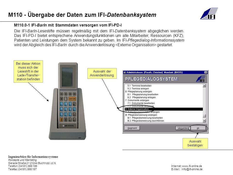 M110 - Übergabe der Daten zum IFI-Datenbanksystem Ingenieurbüro für Informationssysteme Konzepte und Marketing Gerade Straße 2 21244 Buchholz i.d.N. T