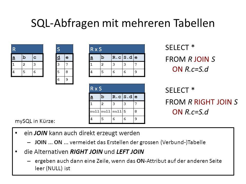 ein JOIN kann auch direkt erzeugt werden – JOIN... ON... vermeidet das Erstellen der grossen (Verbund-)Tabelle die Alternativen RIGHT JOIN und LEFT JO