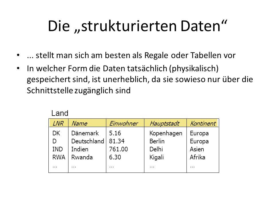 """Die """"strukturierten Daten""""... stellt man sich am besten als Regale oder Tabellen vor In welcher Form die Daten tatsächlich (physikalisch) gespeichert"""