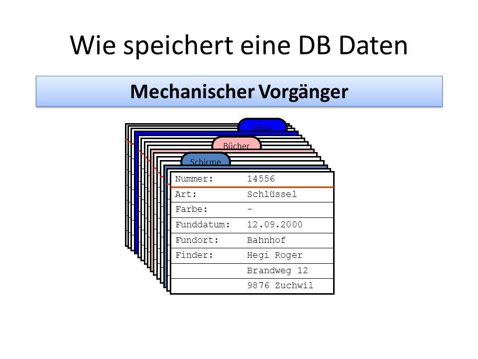 Wie speichert eine DB Daten Mechanischer Vorgänger Finder: Hegi Roger Brandweg 12 Nummer: 1445-4556 Gegenstand: Schlüssel Farbe: - Funddatum: 12.09.20