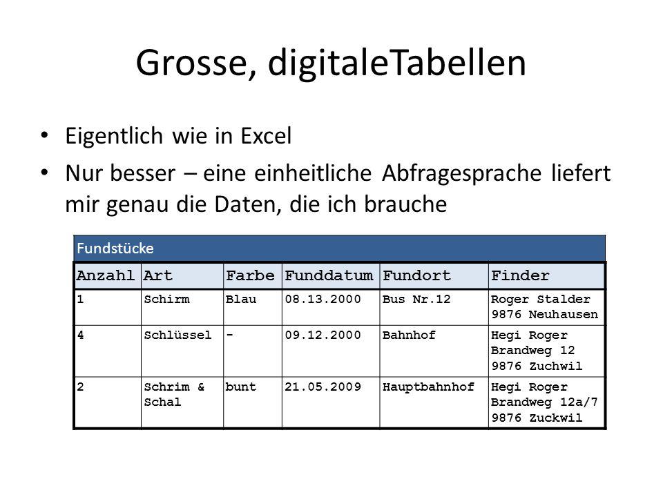 Grosse, digitaleTabellen Eigentlich wie in Excel Nur besser – eine einheitliche Abfragesprache liefert mir genau die Daten, die ich brauche Fundstücke