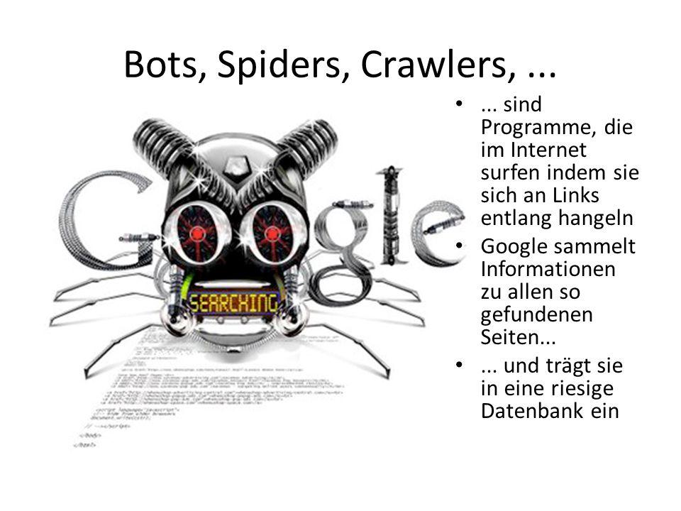 Bots, Spiders, Crawlers,...... sind Programme, die im Internet surfen indem sie sich an Links entlang hangeln Google sammelt Informationen zu allen so