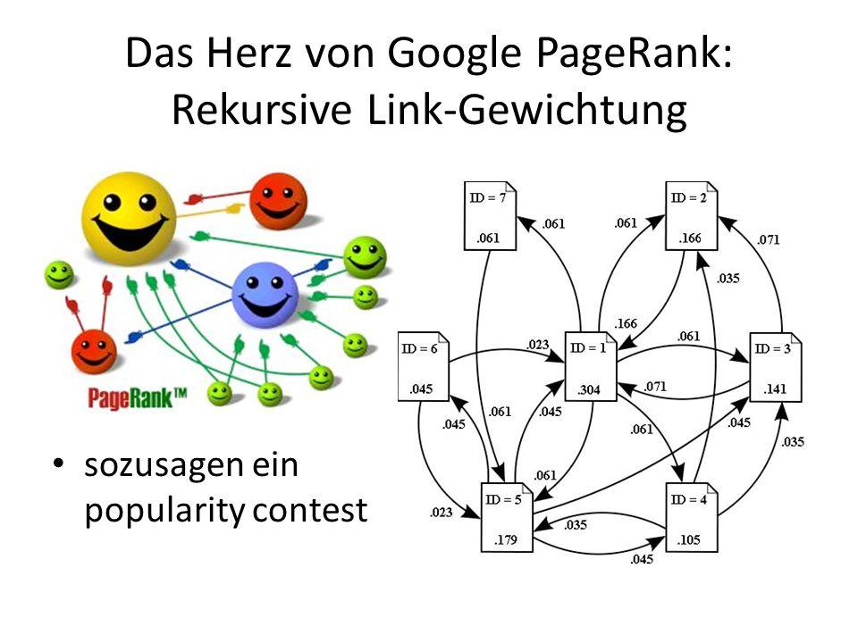 Das Herz von Google PageRank: Rekursive Link-Gewichtung sozusagen ein popularity contest