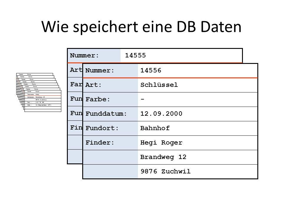 Elemente einer Tabelle Fundstücke NummerArtFarbeFunddatumFundortFinder 14555SchirmBlau08.13.2000Bus Nr.12Stalder Roger Wichleren 8779 Neuhausen 14556Schlüssel-09.12.2000BahnhofHegi Roger Brandweg 12 9876 Zuchwil 14557...