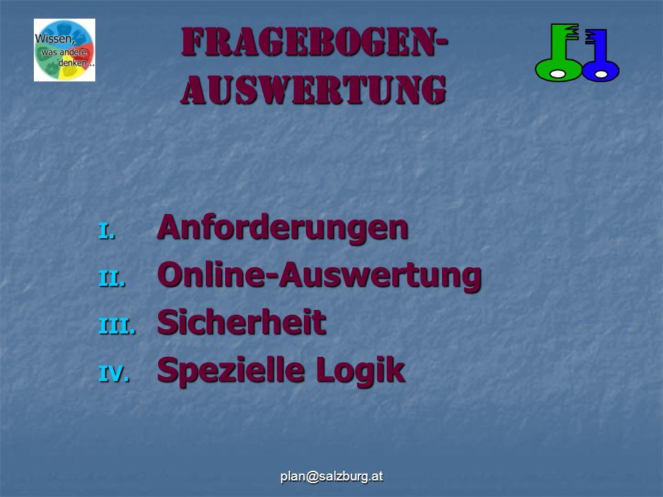plan@salzburg.at Fragebogen- auswertung I. Anforderungen II.