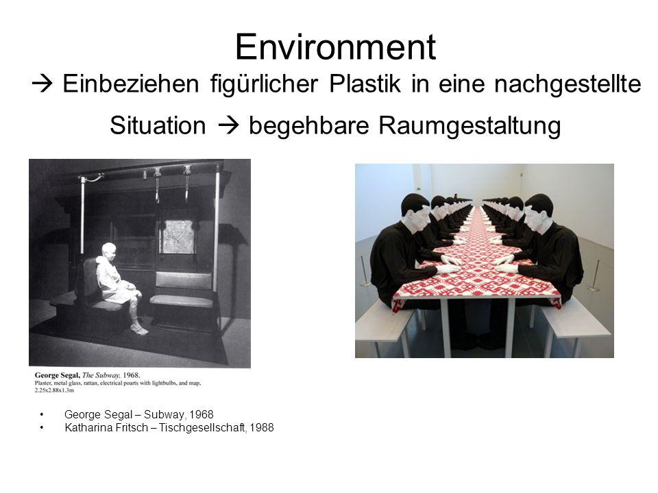 Environment  Einbeziehen figürlicher Plastik in eine nachgestellte Situation  begehbare Raumgestaltung George Segal – Subway, 1968 Katharina Fritsch