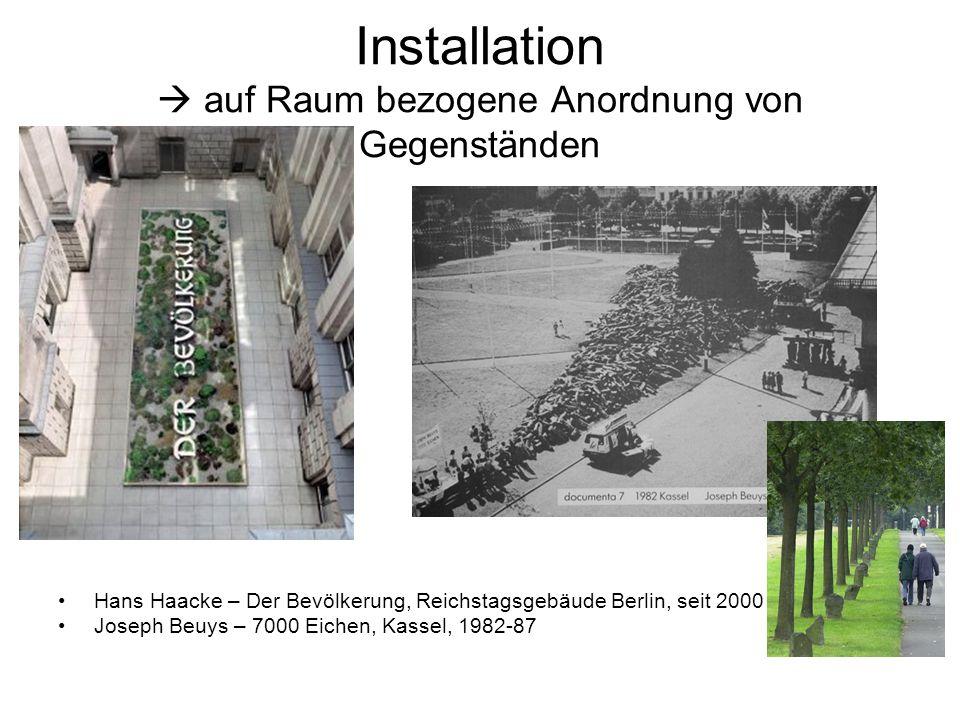 Installation  auf Raum bezogene Anordnung von Gegenständen Hans Haacke – Der Bevölkerung, Reichstagsgebäude Berlin, seit 2000 Joseph Beuys – 7000 Eic
