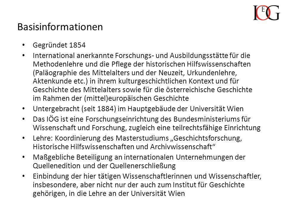 Basisinformationen Gegründet 1854 International anerkannte Forschungs- und Ausbildungsstätte für die Methodenlehre und die Pflege der historischen Hil