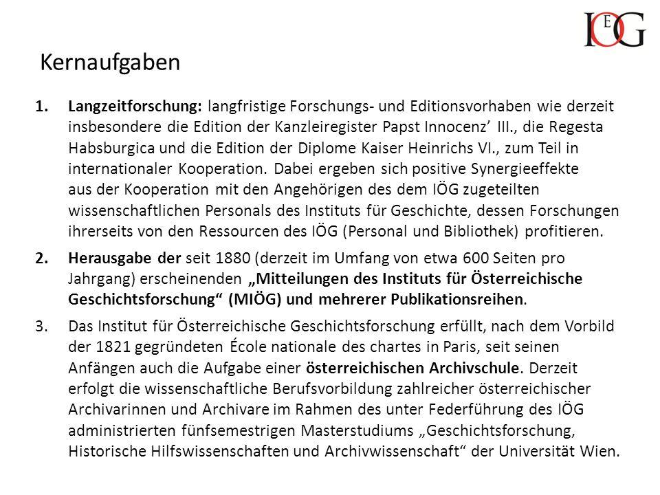 Publikationsreihen des Instituts für Österreichische Geschichtsforschung Zeitschrift Mitteilungen des Instituts für Österreichische Geschichtsforschung (MIÖG) (seit 1880; 2 Hefte pro Jahr mit zusammen ca.