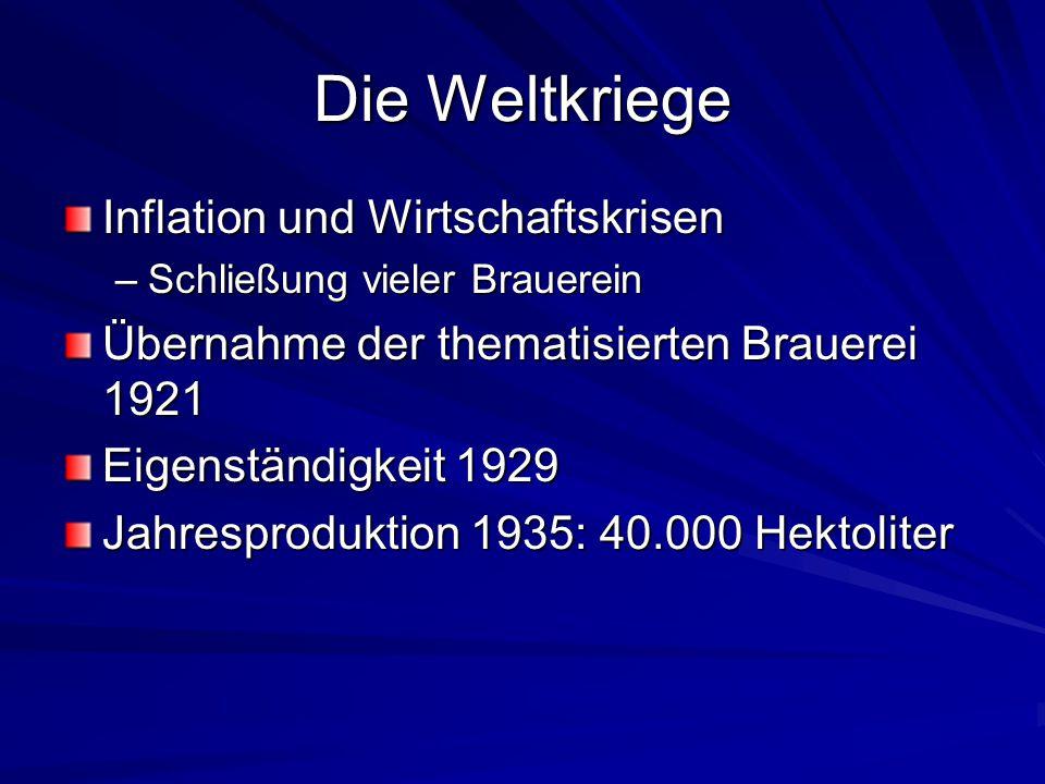 Die Weltkriege Inflation und Wirtschaftskrisen –Schließung vieler Brauerein Übernahme der thematisierten Brauerei 1921 Eigenständigkeit 1929 Jahrespro