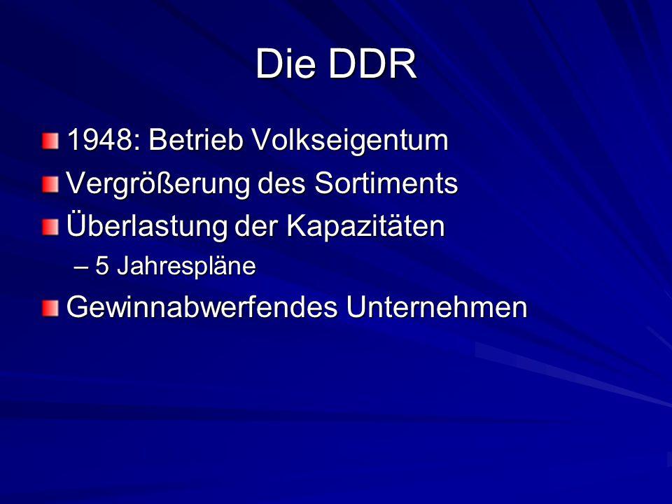 Die DDR 1948: Betrieb Volkseigentum Vergrößerung des Sortiments Überlastung der Kapazitäten –5 Jahrespläne Gewinnabwerfendes Unternehmen