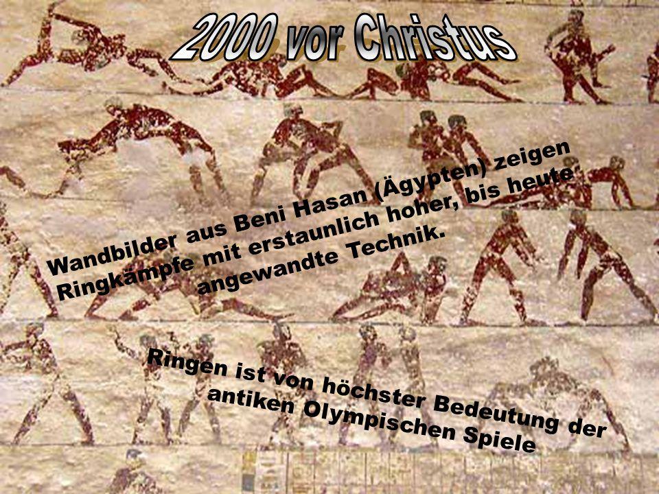 Wandbilder aus Beni Hasan (Ägypten) zeigen Ringkämpfe mit erstaunlich hoher, bis heute angewandte Technik.