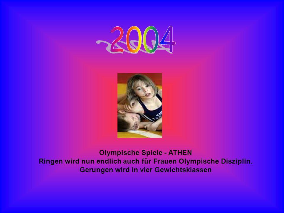 Olympische Spiele - ATHEN Ringen wird nun endlich auch für Frauen Olympische Disziplin. Gerungen wird in vier Gewichtsklassen