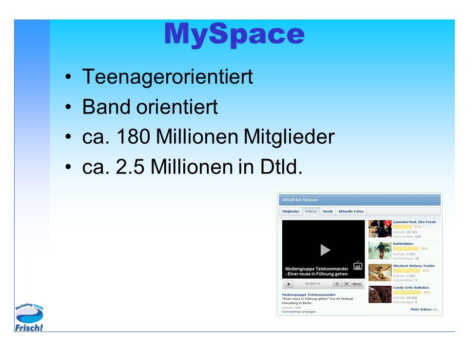 MySpace Teenagerorientiert Band orientiert ca. 180 Millionen Mitglieder ca. 2.5 Millionen in Dtld.