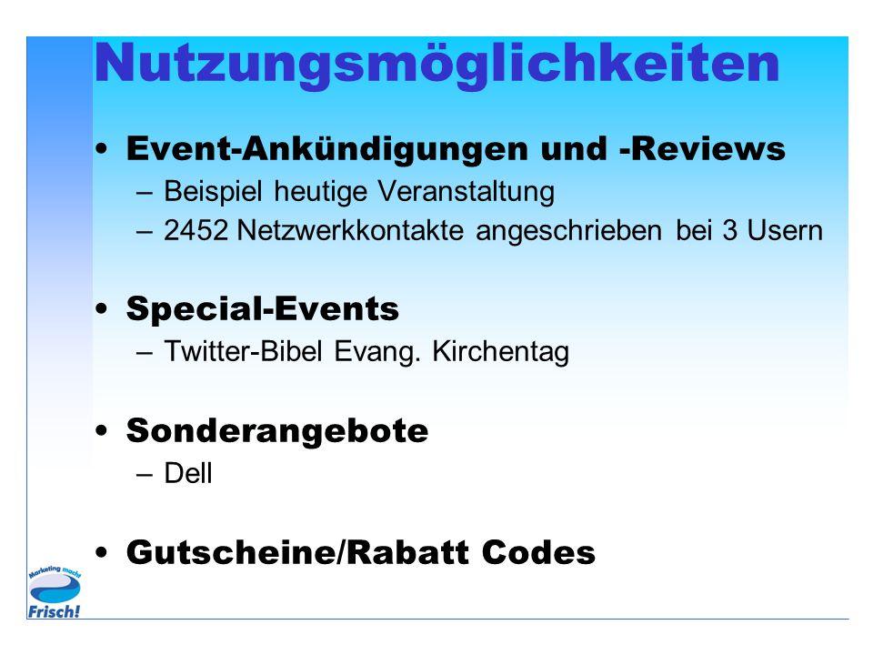 Nutzungsmöglichkeiten Event-Ankündigungen und -Reviews –Beispiel heutige Veranstaltung –2452 Netzwerkkontakte angeschrieben bei 3 Usern Special-Events –Twitter-Bibel Evang.