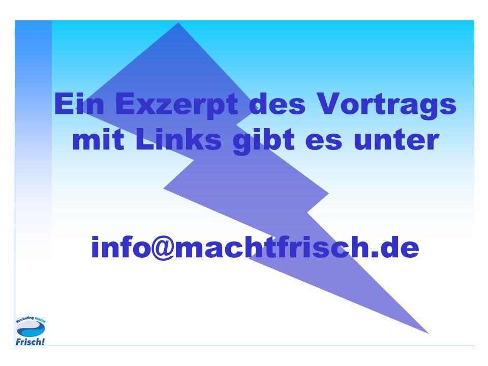 Ein Exzerpt des Vortrags mit Links gibt es unter info@machtfrisch.de