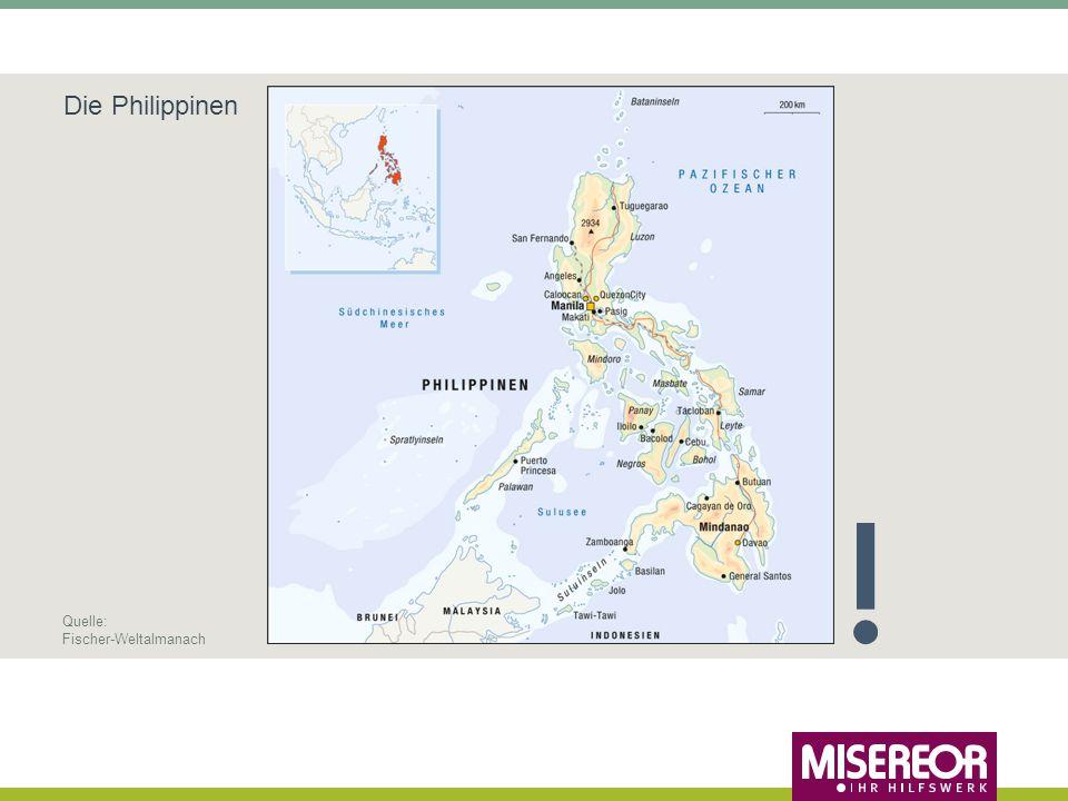Philippinen: 7.017 Inseln, 36.289 km Küste 60 der über 107 Millionen Einwohner leben an der Küste, viele von der Fischerei Schwere Stürme und Taifune sind nichts Neues – doch Häufigkeit der Taifune und die Routen verändern sich Erfahrungen mit dem Klimawandel auf den Philippinen JahrName des TaifunsTodesopferBetroffene 2010Megi312 Millionen 2011Nesat833 Millionen 2012Bopha1.0676,2 Millionen 2013Haiyanüber 6.30014,1 Millionen 2014Rammasun1004 Millionen