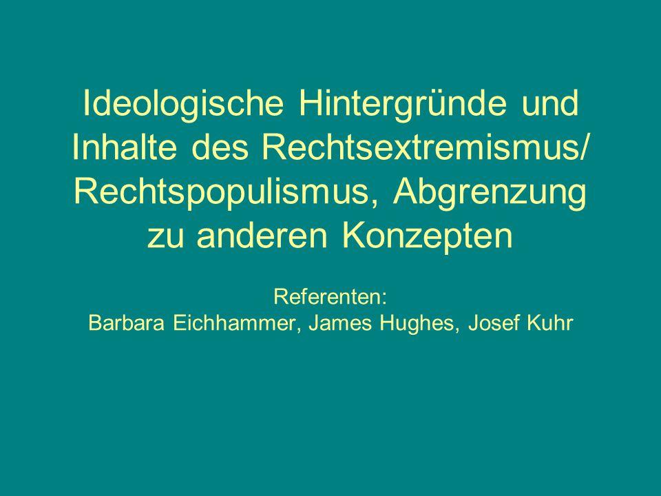 Ideologische Hintergründe und Inhalte des Rechtsextremismus/ Rechtspopulismus, Abgrenzung zu anderen Konzepten Referenten: Barbara Eichhammer, James H