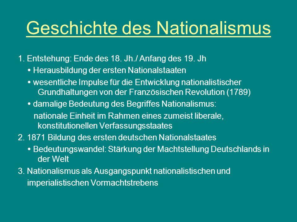 Geschichte des Nationalismus 1. Entstehung: Ende des 18. Jh./ Anfang des 19. Jh  Herausbildung der ersten Nationalstaaten  wesentliche Impulse für d