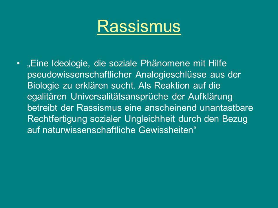 """Rassismus """"Eine Ideologie, die soziale Phänomene mit Hilfe pseudowissenschaftlicher Analogieschlüsse aus der Biologie zu erklären sucht. Als Reaktion"""