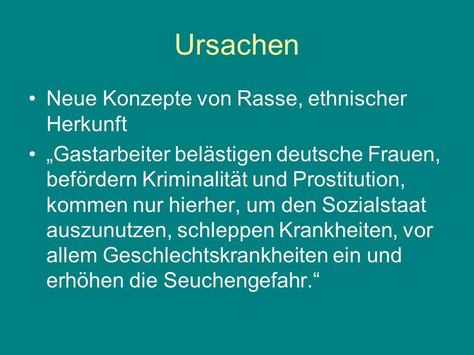 """Ursachen Neue Konzepte von Rasse, ethnischer Herkunft """"Gastarbeiter belästigen deutsche Frauen, befördern Kriminalität und Prostitution, kommen nur hi"""