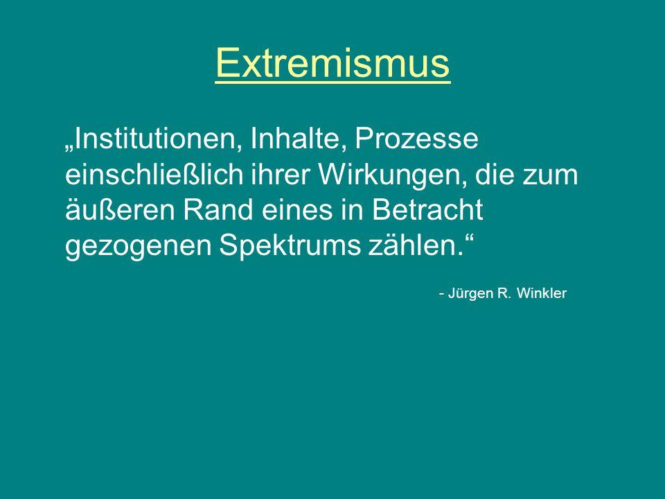 """Extremismus """"Institutionen, Inhalte, Prozesse einschließlich ihrer Wirkungen, die zum äußeren Rand eines in Betracht gezogenen Spektrums zählen."""" - Jü"""