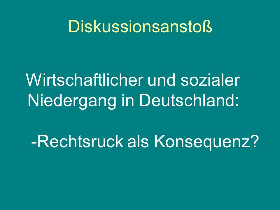 Diskussionsanstoß Wirtschaftlicher und sozialer Niedergang in Deutschland: -Rechtsruck als Konsequenz?
