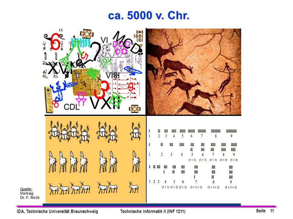 Seite 11 IDA, Technische Universität BraunschweigTechnische Informatik II (INF 1211) ca. 5000 v. Chr. Quelle: Vortrag Dr. F. Richi