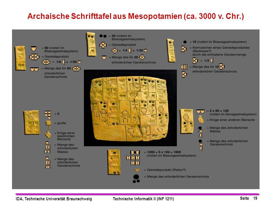 Seite 19 IDA, Technische Universität BraunschweigTechnische Informatik II (INF 1211) Archaische Schrifttafel aus Mesopotamien (ca. 3000 v. Chr.)