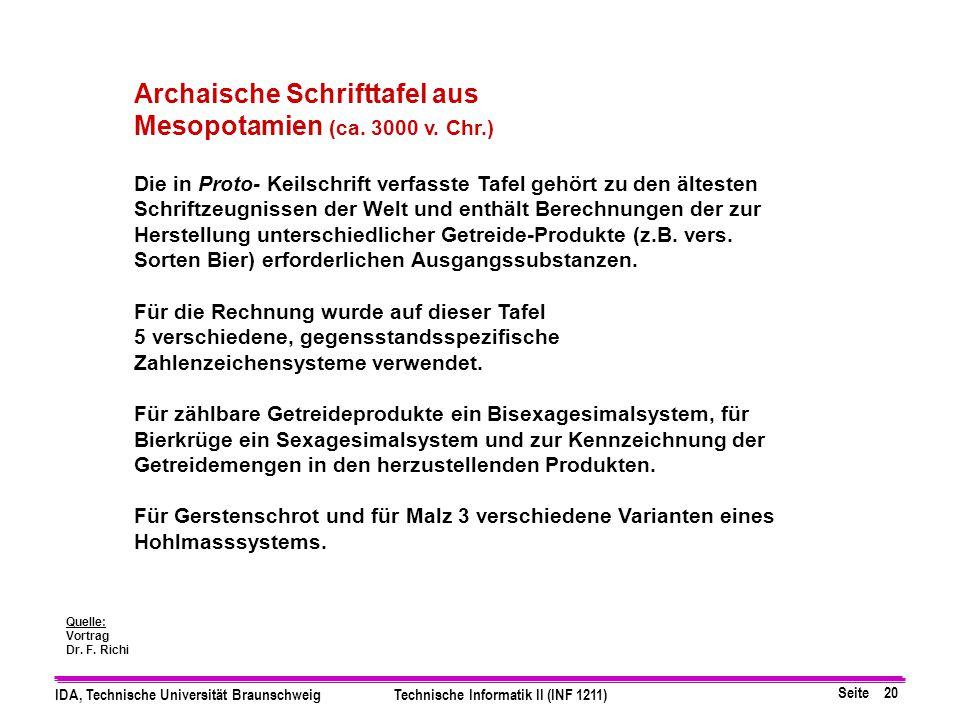 Seite 20 IDA, Technische Universität BraunschweigTechnische Informatik II (INF 1211) Archaische Schrifttafel aus Mesopotamien (ca. 3000 v. Chr.) Die i