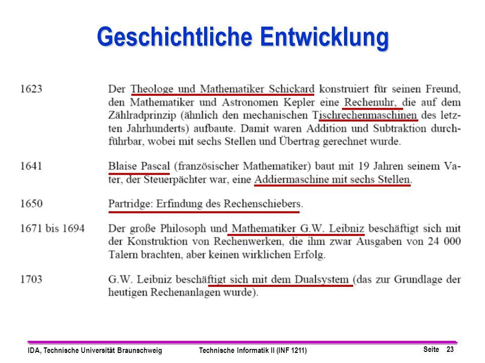 Seite 23 IDA, Technische Universität BraunschweigTechnische Informatik II (INF 1211) Geschichtliche Entwicklung