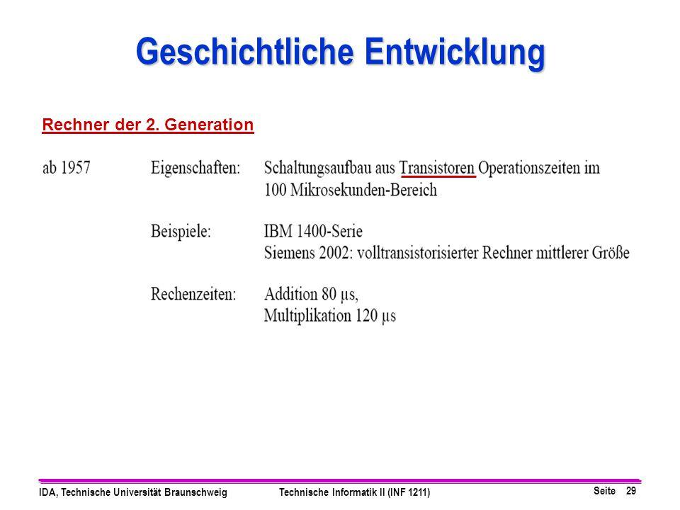 Seite 29 IDA, Technische Universität BraunschweigTechnische Informatik II (INF 1211) Geschichtliche Entwicklung Rechner der 2. Generation