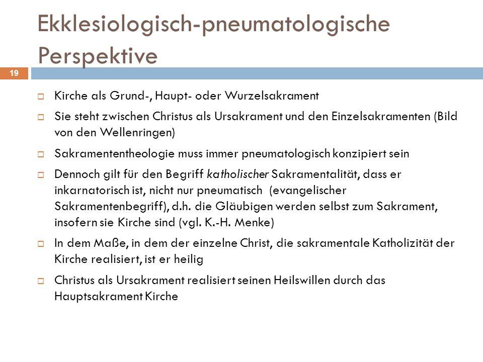 Ekklesiologisch-pneumatologische Perspektive  Kirche als Grund-, Haupt- oder Wurzelsakrament  Sie steht zwischen Christus als Ursakrament und den Ei