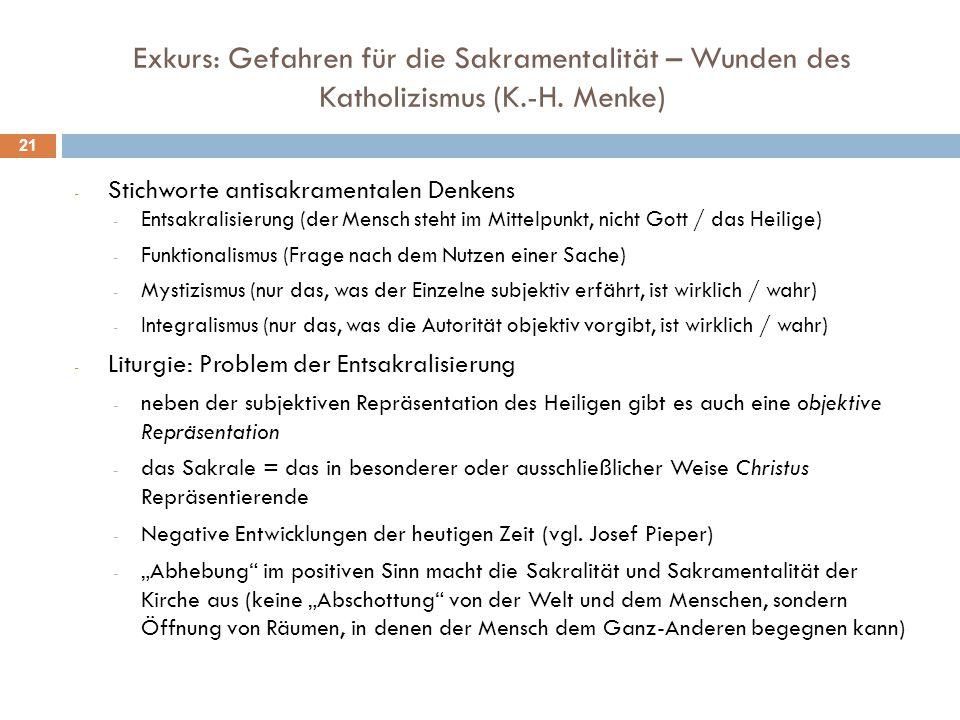 Exkurs: Gefahren für die Sakramentalität – Wunden des Katholizismus (K.-H. Menke) - Stichworte antisakramentalen Denkens - Entsakralisierung (der Mens