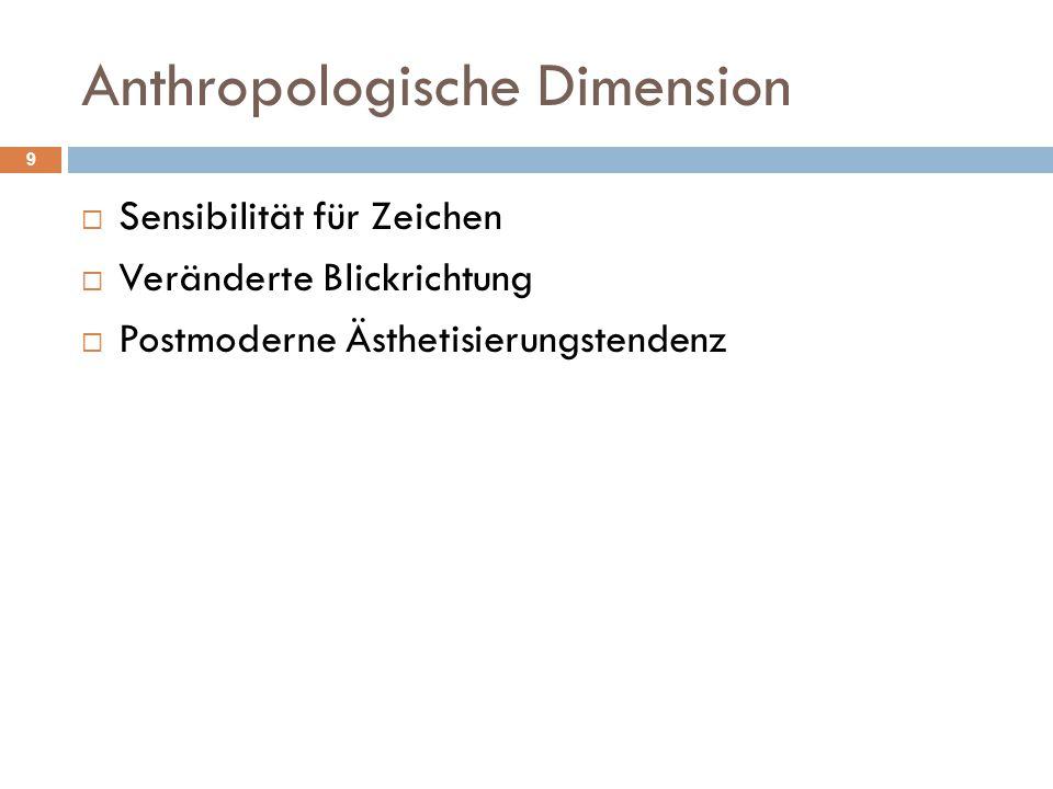Anthropologische Dimension  Sensibilität für Zeichen  Veränderte Blickrichtung  Postmoderne Ästhetisierungstendenz 9
