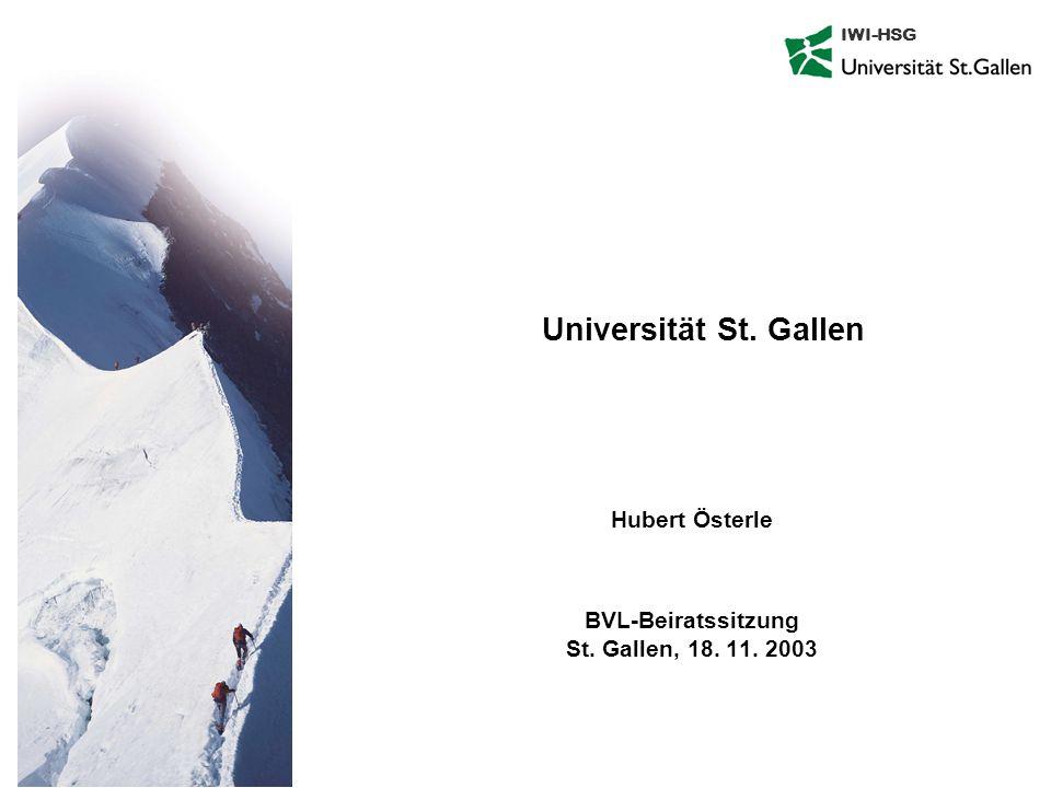 IWI-HSG Universität St. Gallen Hubert Österle BVL-Beiratssitzung St. Gallen, 18. 11. 2003