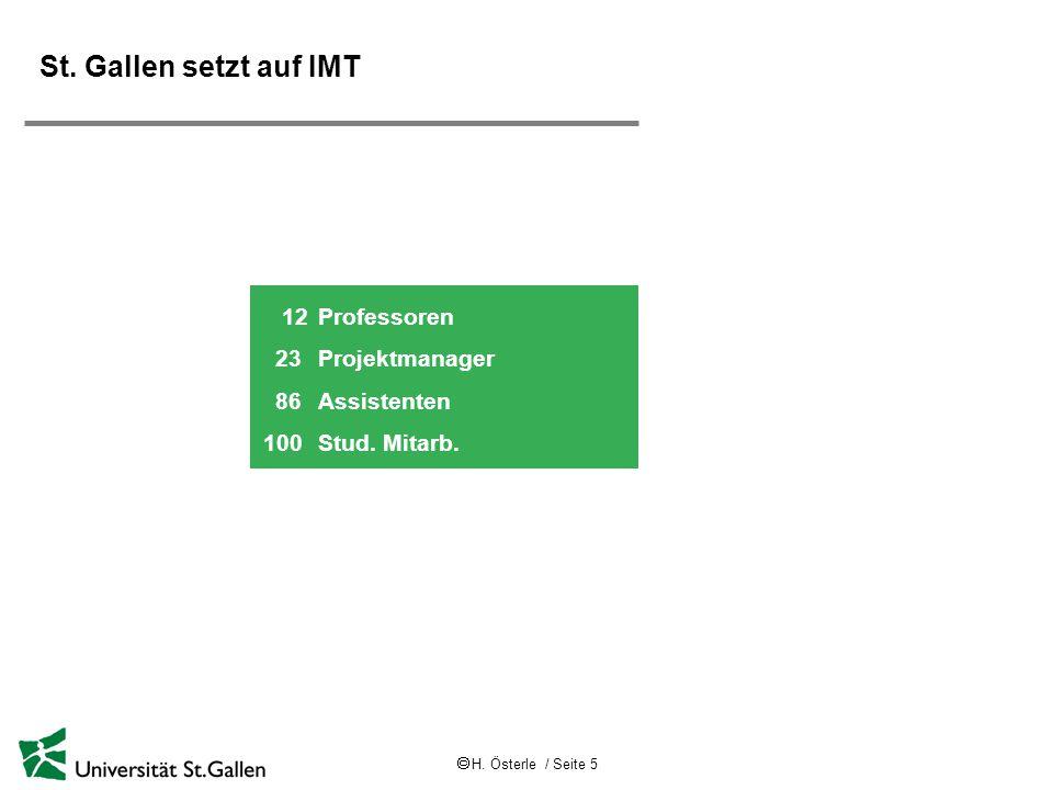  H. Österle / Seite 5 St. Gallen setzt auf IMT 12Professoren 23 Projektmanager 86 Assistenten 100 Stud. Mitarb.