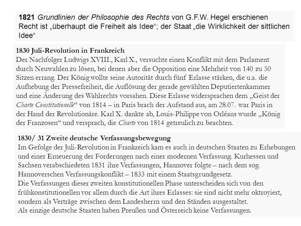"""1821 Grundlinien der Philosophie des Rechts von G.F.W. Hegel erschienen Recht ist """"überhaupt die Freiheit als Idee""""; der Staat """"die Wirklichkeit der s"""